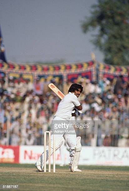 The Second Test Match at Faisalabad during the West Indies tour of Pakistan December 1980 Javed Miandad Captain of Pakistan hits off for Marshall