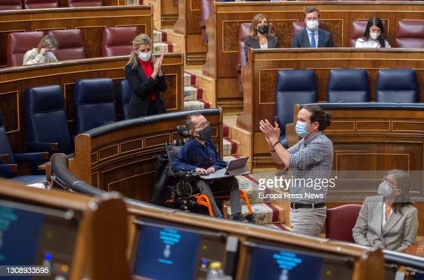 The Second Vice-President of the Government, Pablo Iglesias, during a plenary session in the Congress of Deputies, on March 24 2021, in Madrid,...
