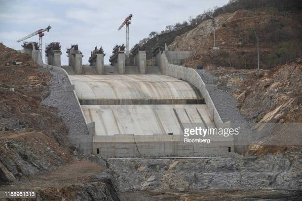 The secondary spillway on the side of the site of the under-construction Grand Ethiopian Renaissance Dam stands in the Benishangul-Gumuz Region of...