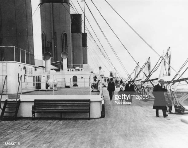 The second-class promenade on the boat deck of the White Star ocean liner 'RMS Titanic', 1912.