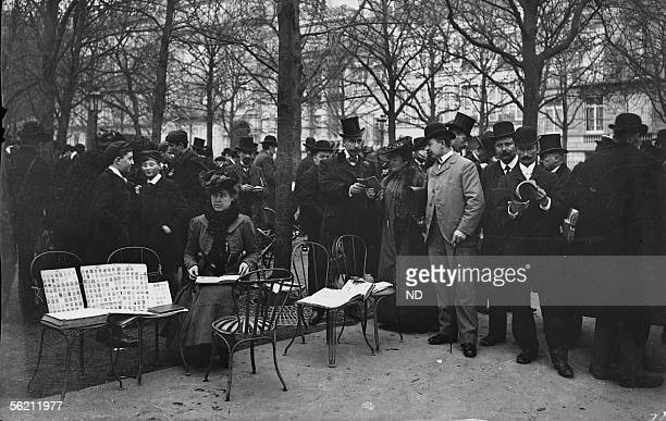 The secondhand stamp sale in the ChampsElysees avenus Paris about 1900