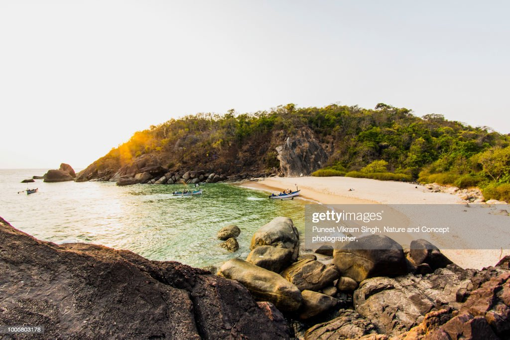 The secret beach of Goa Butterfly Beach : Stock Photo