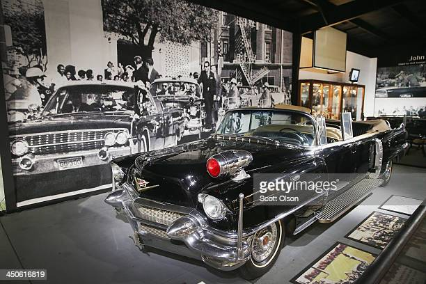 The Secret Service car that followed President John F Kennedy's limousine when he was shot and killed in Dallas is displayed at the Historic Auto...
