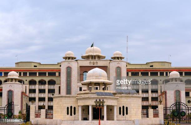 the secretariat building - prime minister's office - façade on constitution avenue, islamabad, pakistan - islamabad stock pictures, royalty-free photos & images