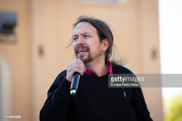The secretary general of Podemos Pablo Iglesias speaks in a campaign act of En Comu Podem on April 24, 2019 in Barcelona, Spain.