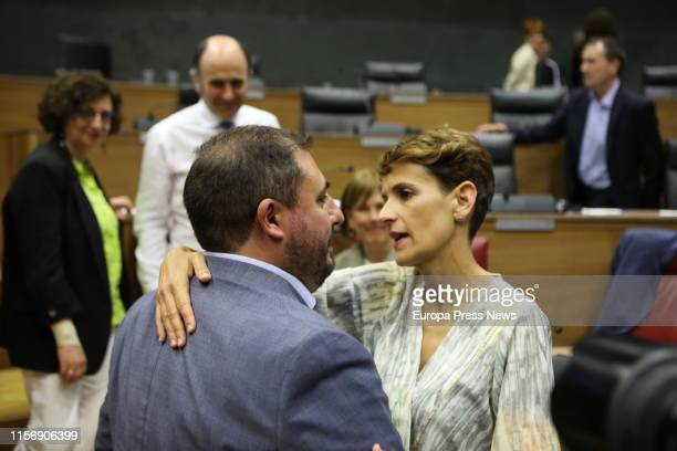 The secretary general of PSN Maria Chivite and the new president of the Parliament of Navarra Unai Hualde are seen in the session of constitution of...