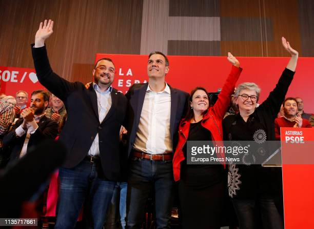 The secretary general of PSOE in Asturias Adrian Barbon the president of the Government Pedro Sanchez the vice secretary of PSOE Adriana Lastra and...