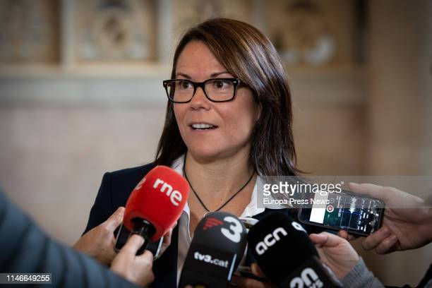 The secretary general of the Consell de Diplomacia Publica of Cataluña Laura Foraster is seen during the opening act of the seminar 'El paper de la...