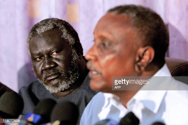 The secretary general of the northern branch of the exrebel Sudan People's Liberation Movement Yasser Arman speaks during a news conference with...