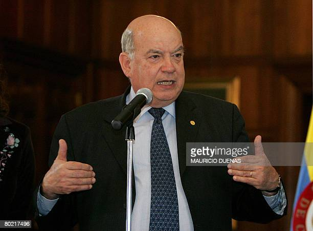 The Secretary General of the Organization of American States Chilean Jose Miguel Insulza answers questions from journalist on March 12 2008 in Bogota...