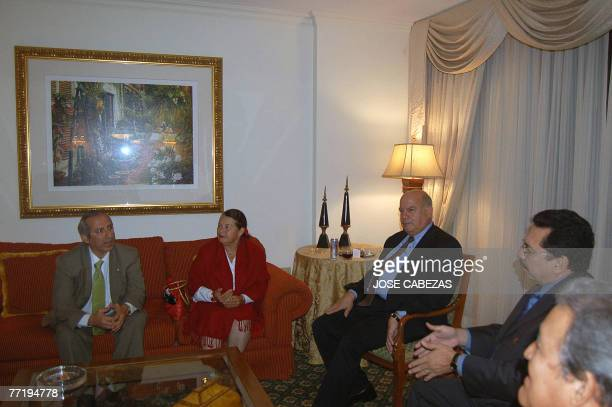 The Secretary General of the Organization of American States Jose Miguel Inzulsa meets with members of the Frente Farabundo Marti in San Salvador El...
