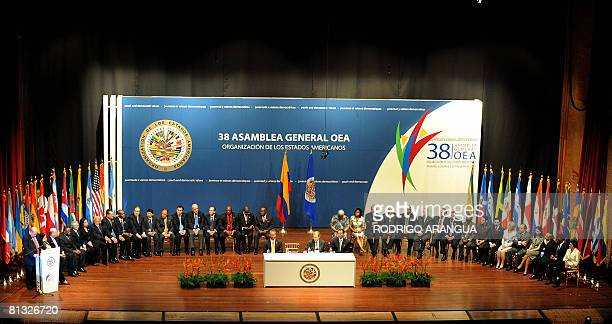 The Secretary General of the Organization of American States Jose Miguel Insulza delivers a speech on June 01 in Medellin Colombia during the...
