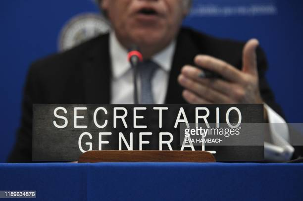 The Secretary General of the Organization of American States Luis Almagro holds a press conference evaluating the year 2019 at OAS headquarters in...