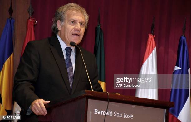 The Secretary General of the Organization of American States Luis Almagro speaks during a forum on irregular migrant waves in the Americas in San...