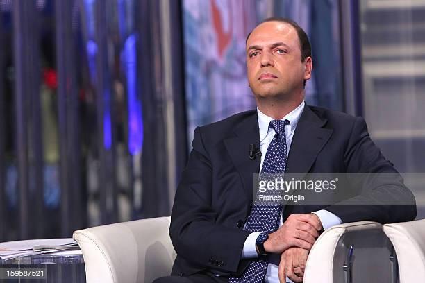 The secretary general of the Popolo della Liberta party Angelino Alfano attends 'Porta a Porta' Italian TV Show on January 16 2013 in Rome Italy