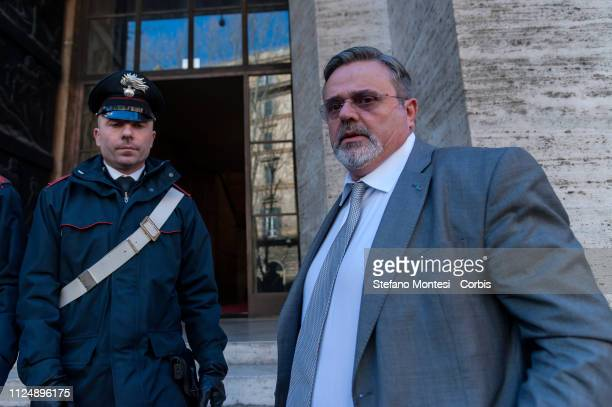 The Secretary General of the UGL Paolo Capone on arrival at the Ministry of Economic Development for the meeting with the government for the...