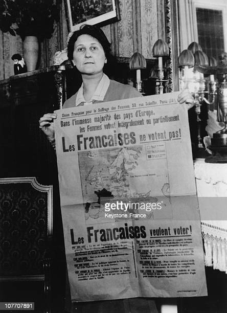 FRANCE CIRCA 1930 The Secretary General Of The Union For French Women'S Suffrage During A Demonstration For Voting Rights For French Women At The...