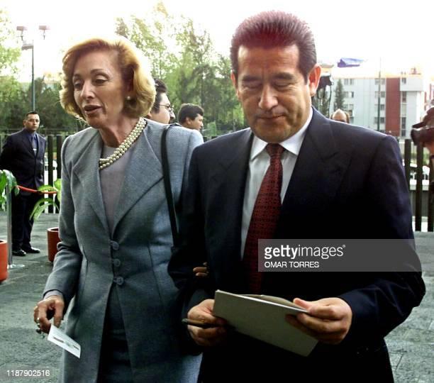 The Secretary of Exterior Relations of Mexico Rosario Green walks with Government Secretary Diodoro Carrasco 01 September 2000 as they go to listen...