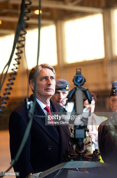 The Secretary of State for Defence Philip Hammond visits RAF Waddington on February 29 2012 in Lincoln England Pilots from the Royal Air Force and...
