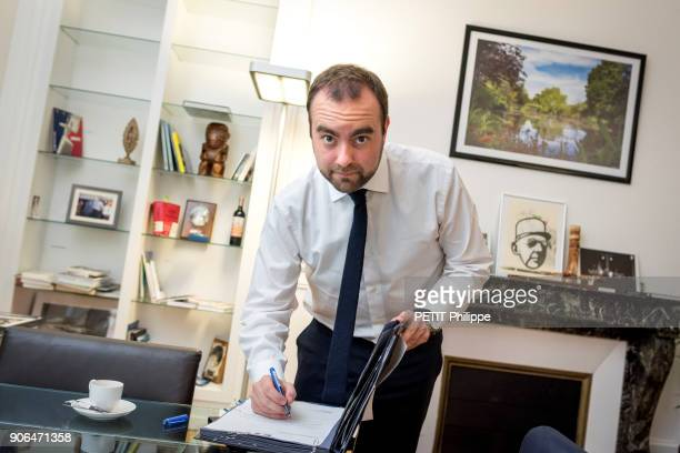 the Secretary of State for Ecological Transition Stephane Lecornu is photographed for Paris Match in his ministry office on december 21 2017 in Paris...