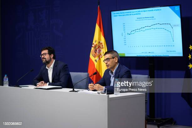 The Secretary of State for Employment and Social Economy, Joaquin Perez Rey, and the Secretary of State for Social Security and Pensions, Israel...