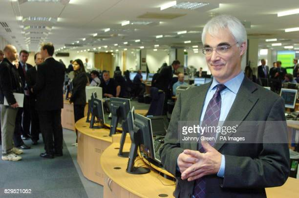 The Secretary of State for Transport Alistair Darling is given a tour of the latest railway integrated control centre as he opens the Anglia ICC