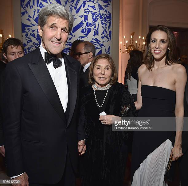 The Secretary of State John Kerry Teresa Heinz and Alexandra Kerry attend the Bloomberg Vanity Fair cocktail reception following the 2015 WHCA Dinner...