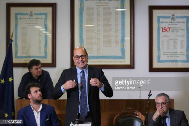 The secretary of the Democratic Party Nicola Zingaretti and Franco Roberti during the press conference in Casal di Principe for the European elections