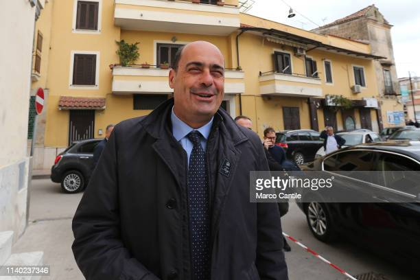 The secretary of the Democratic Party Nicola Zingaretti arrives at the press conference in Casal di Principe for the European elections