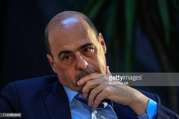 The secretary of the Democratic Party Nicola Zingaretti during a press conference in Sanità quarter city Naples