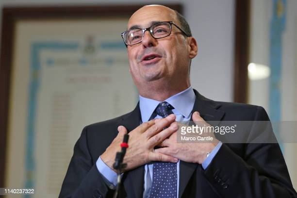 The secretary of the Democratic Party Nicola Zingaretti during the press conference in Casal di Principe for the European elections