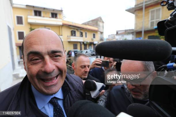 The secretary of the Democratic Party Nicola Zingaretti with journalists before the press conference in Casal di Principe for the European elections