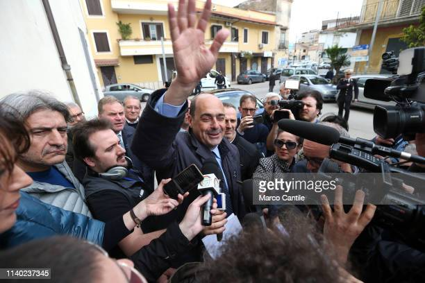 The secretary of the Democratic Party Nicola Zingaretti with journalists before the press conference in Casal di Principe for the European elections...