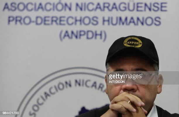 The secretary of the Nicaraguan Association for Human Rights Alvaro Leiva gives the preliminary report on the death of Nicaraguan citizens killed...
