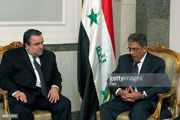 The secretarygeneral of the Arab League Amr Moussa meets with the Speaker of Iraq's Transitional National Assembly Hajim alHassani October 20 2005 in...