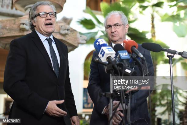 The SecretaryGeneral of the Organization of American States Luis Almagro speaks to the press with Venezuelan opposition leader and former Caracas...