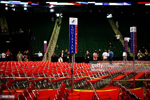 The section for delegates from Louisiana is shown as preparations continue for the Republican National Convention at the Xcel Center in St Paul...