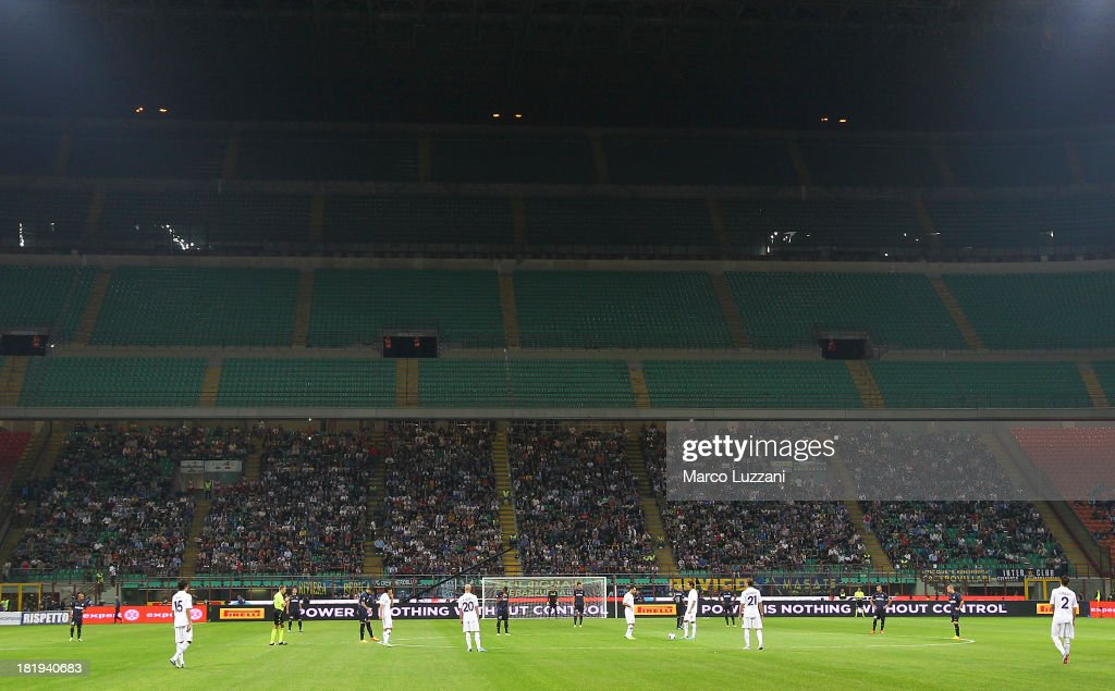 The section for the FC Internazionale Milano fans is empty as punishment for racist chanting by Inter supporters during last Saturday's match against Juventus during the Serie A match between FC Internazionale Milano and ACF Fiorentina at Giuseppe Meazza Stadium on September 26, 2013 in Milan, Italy.