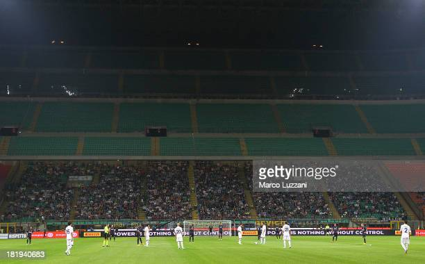 The section for the FC Internazionale Milano fans is empty as punishment for racist chanting by Inter supporters during last Saturday's match against...