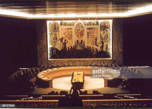 The Security Council room in the Conference Building of the United Nations Headquarters in New York mid 1960s