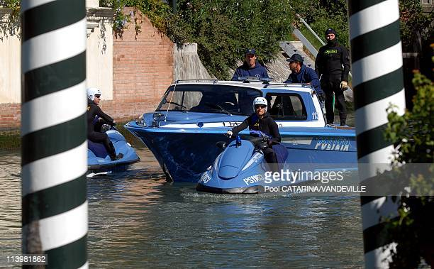 The security during the 64th Venice Film Festival the special motor boats of the Venice police Italy On September 05 2007