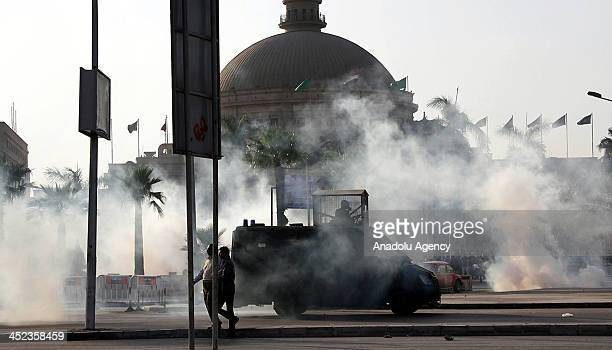 The security forces tear gas the students holding anticoup demonstrations is Dokki Cairo Egypt on November 28
