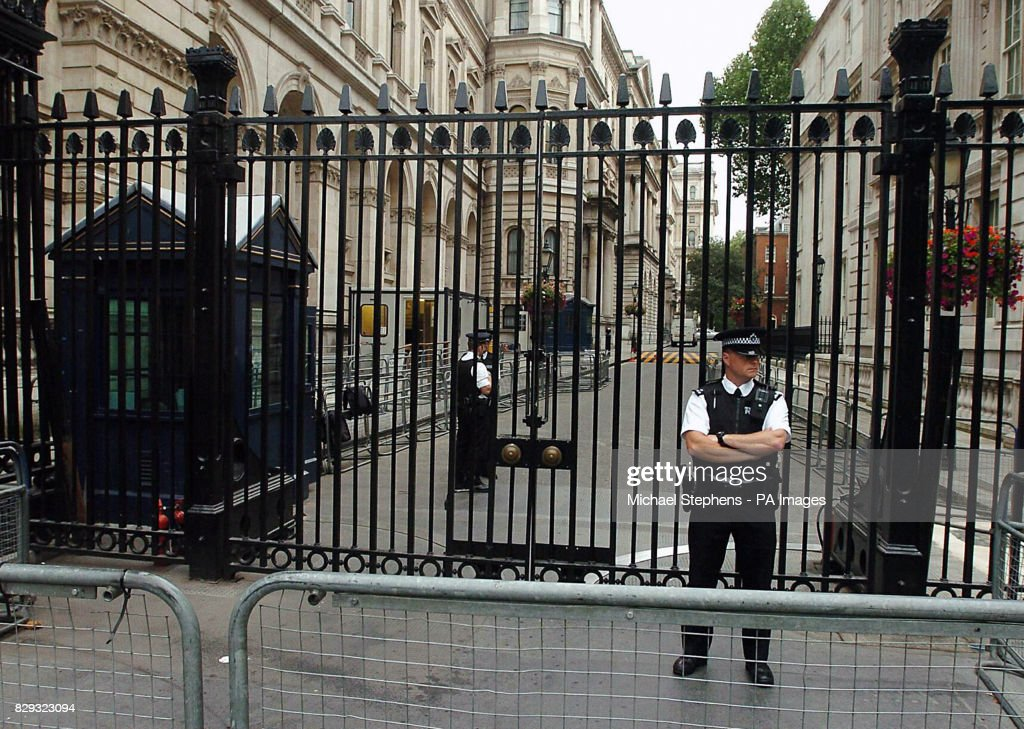 the security gates at the entrance to 10 downing street in central