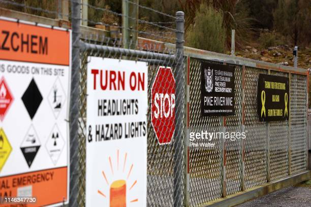 The security gates on the access road to the Pike River Mine are pictured on May 02 2019 in Greymouth New Zealand 29 men were trapped and killed...