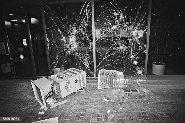 The Security Pacific bank in downtown Los Angeles receives damage from rioters. Los Angeles has undergone several days of rioting due to the...