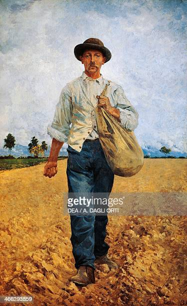 The seed sower painting by Carlo Pollonera oil on canvas