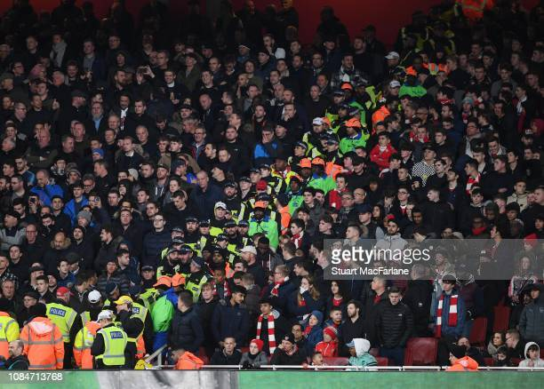 The segregation line between the Arsenal and Tottenham fans during the Carabao Cup Quarter Final match between Arsenal and Tottenham Hotspur at...