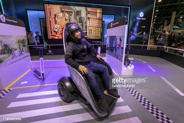 The Segway S-Pod is shown on opening day of the 2020 Consumer Electronics Show in Las Vegas, Nevada on January 7, 2020.