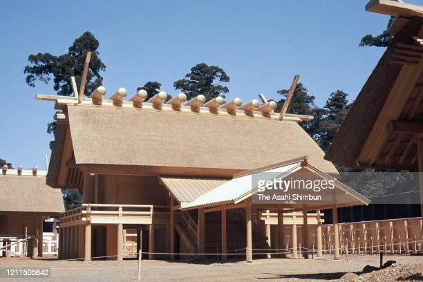 The Seiden, main hall of Naiku, inner shrine after the Shikinen Sengu at Ise Jingu Shrine on March 16, 1973 in Ise, Mie, Japan.