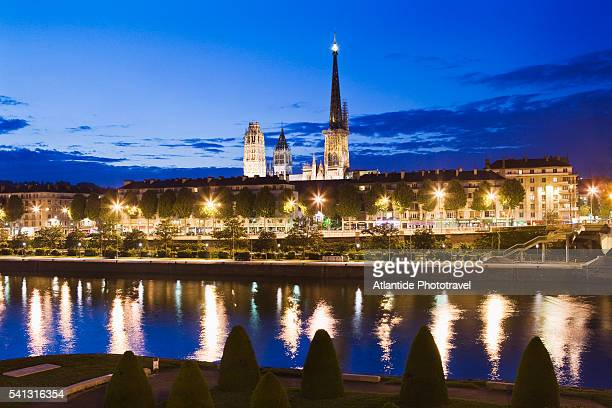 The Seine river, the Cathedral of Notre Dame and the town from Corneille Bridge